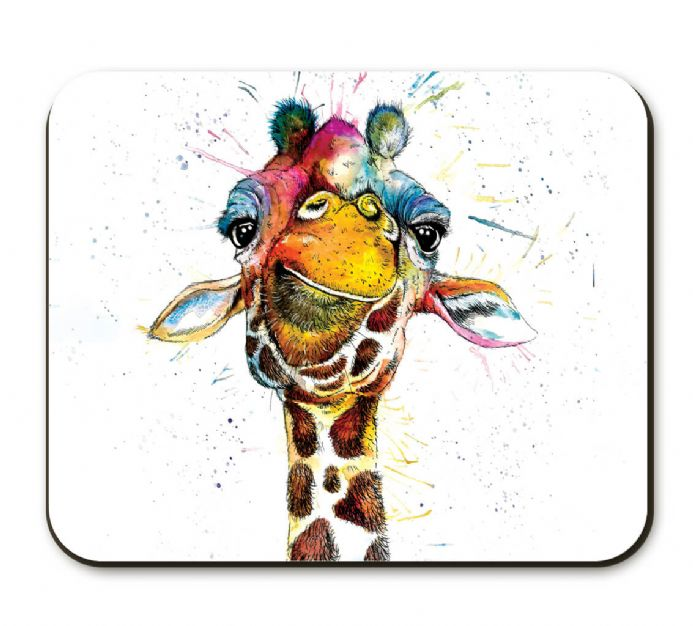 Splatter Rainbow Giraffe Corked Backed Placemat by Katherine Williams